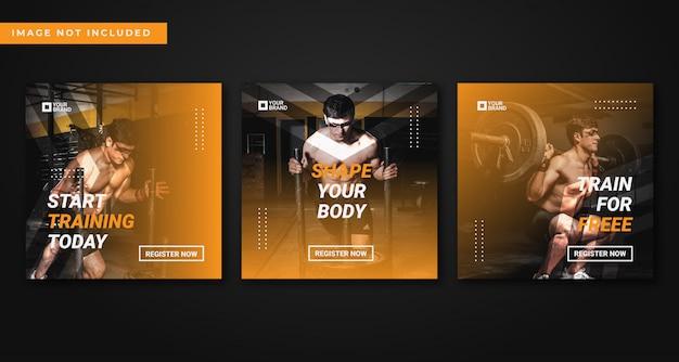 Coleção de modelo de postagem de instagram de academia e fitness