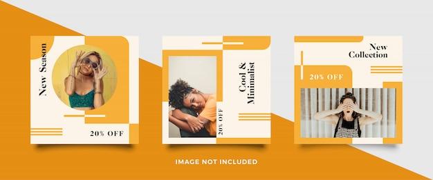 Coleção de modelo de postagem de mídia social minimalista