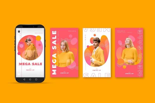 Coleção de modelo de postagem de venda de aplicativo do instagram