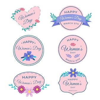 Coleção de modelo de rótulo rosa para o dia da mulher