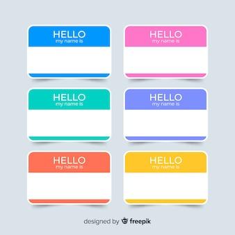 Coleção de modelo de tag de nome colorido
