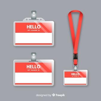 Coleção de modelo de tag de nome com design realista