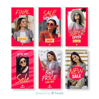 Coleção de modelo de venda de histórias do instagram