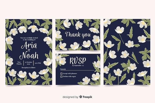 Coleção de modelo estacionário de casamento floral