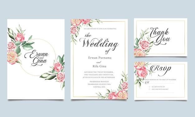 Coleção de modelo estacionário floral casamento