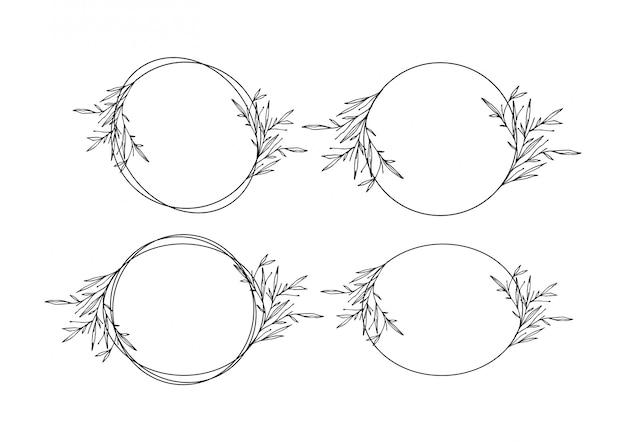 Coleção de modelo floral casamento minimalista