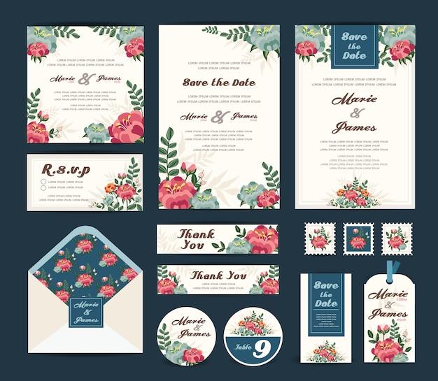Coleção de modelo floral de casamento.