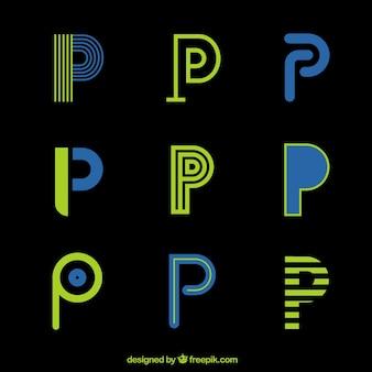 Coleção de modelo futurista de logotipo da letra p