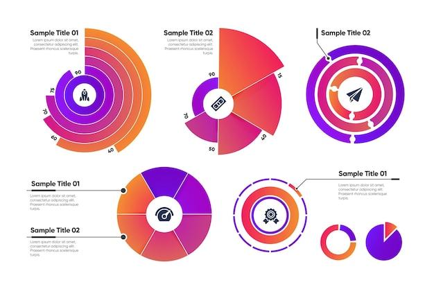 Coleção de modelo infográfico radial