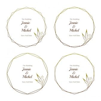 Coleção de modelo minimalista de convite de casamento floral dourado
