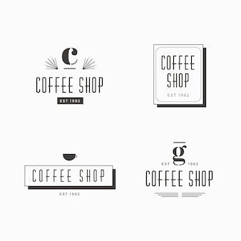 Coleção de modelo retro logotipo café