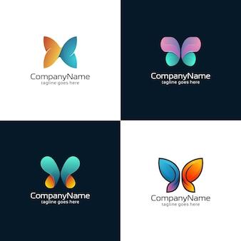 Coleção de modelos abstratos do logotipo da borboleta