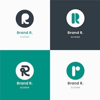 Coleção de modelos com logotipos r planos