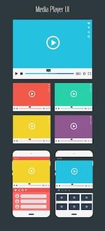 Coleção de modelos de aplicativos móveis de reprodutor de mídia de design de interface do usuário plana