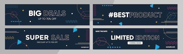 Coleção de modelos de banner de venda para promoção de venda com estilo geométrico