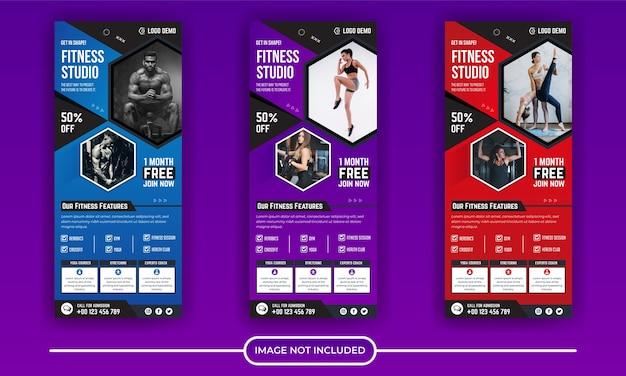 Coleção de modelos de banner para academia de ginástica
