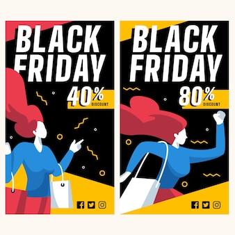 Coleção de modelos de banners pretos de sexta-feira em design plano