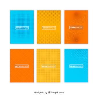 Coleção de modelos de capa com padrões de meio-tom