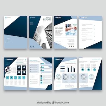 Coleção de modelos de capa de relatório anual