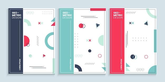 Coleção de modelos de capa estilo memphis Vetor Premium
