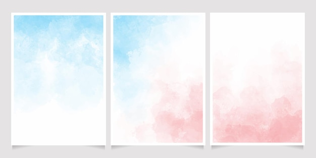 Coleção de modelos de cartão de convite de respingo de aquarela azul e rosa