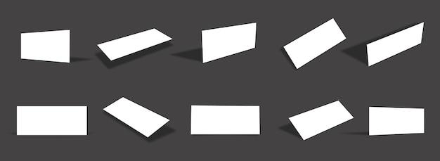 Coleção de modelos de cartão de papel fino horizontal branco em branco com diferentes pontos de vista e ângulos