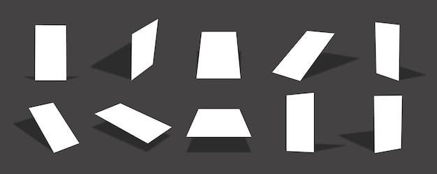 Coleção de modelos de cartão de papel fino vertical branco em branco com diferentes pontos de vista e ângulos