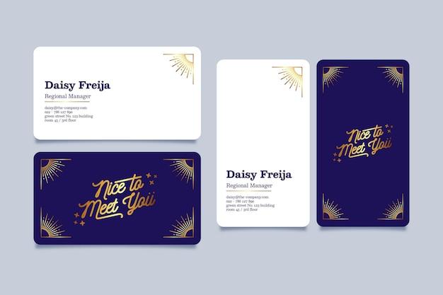 Coleção de modelos de cartão de visita de folha de ouro