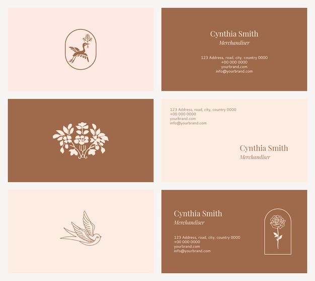 Coleção de modelos de cartões de nome de moda