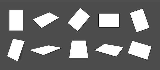 Coleção de modelos de cartões de papel branco em branco com diferentes pontos de vista e ângulos
