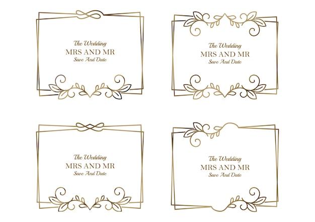Coleção de modelos de casamento floral dourado