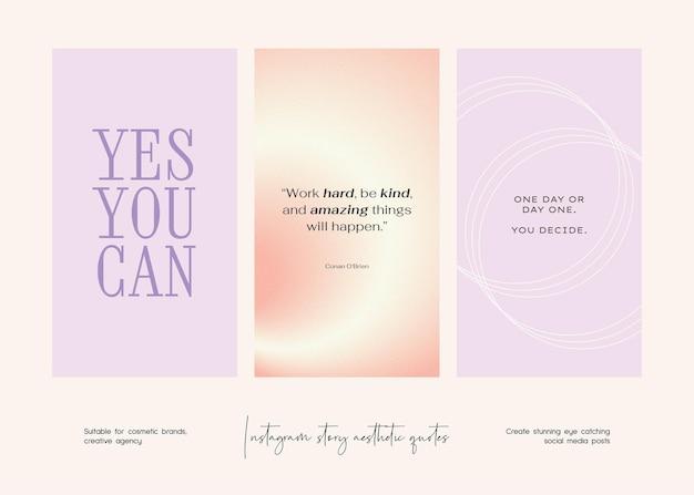 Coleção de modelos de citações estéticas de histórias do instagram