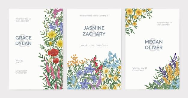 Coleção de modelos de convite para festa de casamento com flores desabrochando do prado