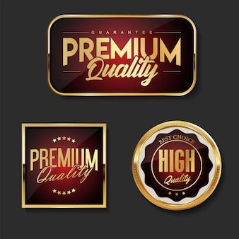 Coleção de modelos de crachá e etiquetas de qualidade premium