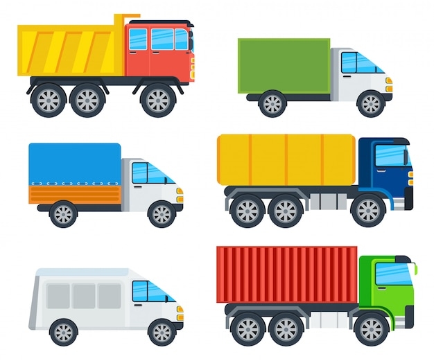 Coleção de modelos de desenhos animados de caminhões