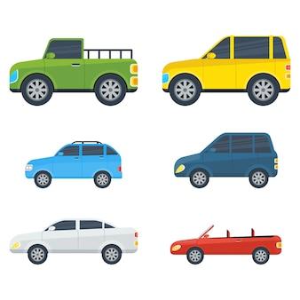 Coleção de modelos de desenhos animados de carros de passageiros