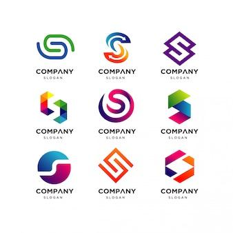 Coleção de modelos de design de logotipo de letra s