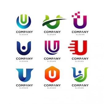 Coleção de modelos de design de logotipo de letra u