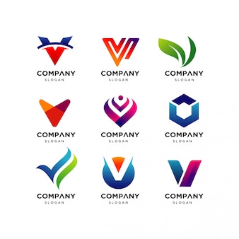 Coleção de modelos de design de logotipo letra v