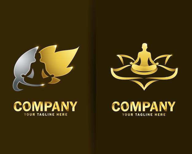 Coleção de modelos de design de logotipo para pessoas de ioga