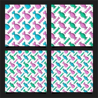 Coleção de modelos de design de padrão sem emenda de doces