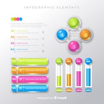 Coleção de modelos de elemento colorido infográfico