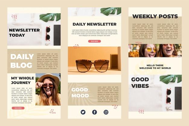 Coleção de modelos de email para blogs