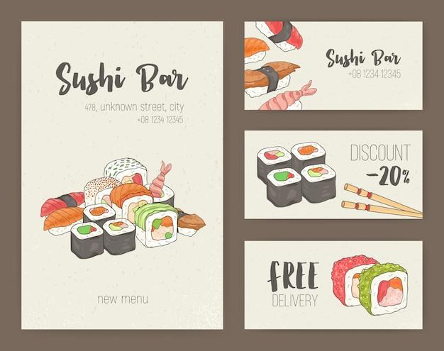 Coleção de modelos de folheto colorido com sushi japonês e rolos.