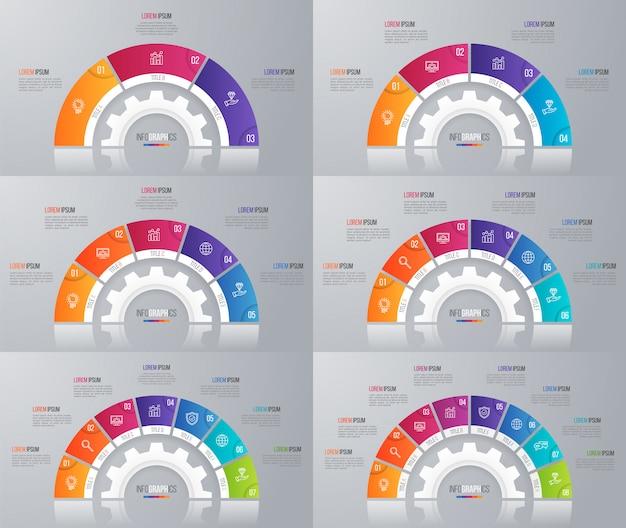 Coleção de modelos de gráfico de círculo para infográficos