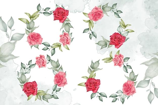 Coleção de modelos de guirlanda floral em aquarela para decoração de convites de casamento
