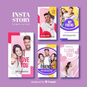 Coleção de modelos de histórias de instagram de amizade
