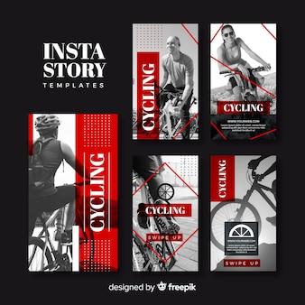 Coleção de modelos de histórias de instagram de ciclismo