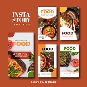 Coleção de modelos de histórias de instagram de comida