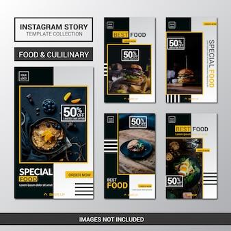 Coleção de modelos de histórias do instagram de alimentos